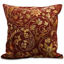 "Gobelin Decorative Pillowcase + Pillow Floral Bordeaux Red Gold 18x18"" Decor"