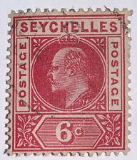 Travelstamps: 1901 Seychelles Stamps SG # 40 Used OG H , 6 Cent Denomination