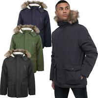 Mens Crosshatch Parka Parker Padded Fleece Lined Fur Hood Winter Jacket Coat