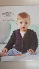 Cleckheaton Pattern #422 Baby Ripple Cardigan to Knit with Superfine Merino