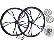 "26"" MTB Mountain Bike Magnesium Alloy Front Rear 8 Speed Wheel Set + Disc Rotors"
