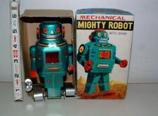 * VINTAGE MIGHTY ROBOT KEY WIND-UP TIN-LITHO 6 in TALL IN THE BOX