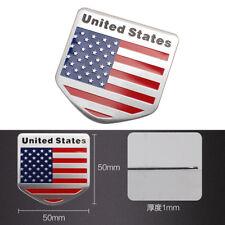 Shield Shape 3D USA American Mini Flag Aluminum Car Sticker Emblem Badge Decal