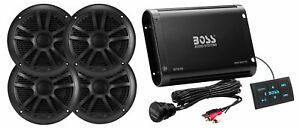 "Boss BPS4BSK 500w 4-Ch. Bluetooth Amplifier+Control+4) 6.5"" Speakers RZR/ATV/UTV"