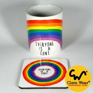 Funny cuntMUG rude cnt cup EVERYONE IS A C*NT rainbow Coffee tea Gift comedy