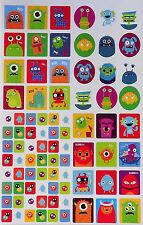 48 Cute Monster Sticker Sheet (Monsters Aliens Zombie UFO Stickers)