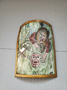 Signed Ceramic ? Metal Encase Painted Wall Hang Plaque 8'' by 6''