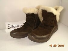 Earth Invent Beaver Women Dark Brown Suede Leather Faux fur Boot size 6.5B