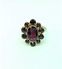 Damenring, 825/- Silber vergoldet, echte Granatsteine, Krappen u.Zargenfassung