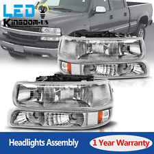 For 99-02 Chevy Silverado 00-06 Suburban Tahoe Headlights + Bumper Signal Lamps
