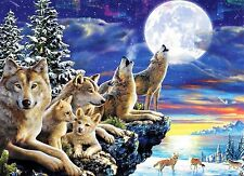 """Glow In The Dark Adrian Chesterman """"Wolfpoint Moon"""" Boxless Puzzle Forest *NEW*"""
