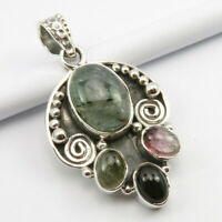 """Multicolor Cab TOURMALINE Pendant 1.5"""" 925 Sterling Silver Classic Gift Jewelery"""