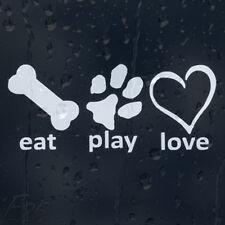 Funny Eat Play Love Bone corazón Pata De Perro a bordo del coche o tazón calcomanía pegatina de vinilo