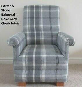 Children's Armchair Porter & Stone Balmoral Dove Grey Fabric Kids Chair Tartan