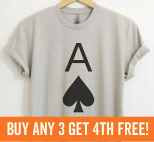 Ace Of Spades Shirt Cool Poker Shirt College Gaming Cards Shirt  Unisex XS-XXL
