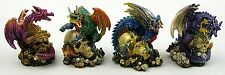 Set of 4 Resin Miniature Dragons Figurines Sculptures Statues Decor 3 x 3 x 2.5""