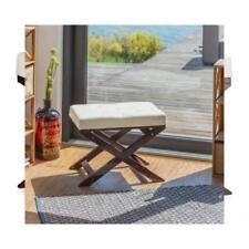 Relaxdays Banc avec Matelas sans Dossier bois Blanc 64 x 40 48 cm