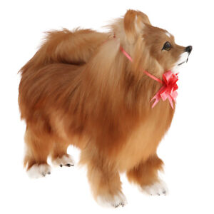 Soft Stuffed Animal Plush Pomeranian Realistic Model Toy for Kids Adults