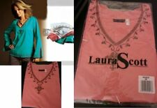 Laura Scott Damen Tunika Stickerei Pailletten Shirt 38 Trompete langarm ToP Neu