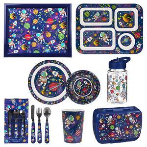 Kids Boys Spaceman Design Cutlery Dinner Set Mealtime Plastic Bowl Plates Cup