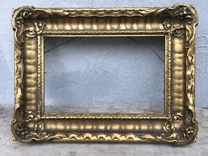 Small Antique Ornate Wood Gesso Gilt Picture Frame 14x10.5 Outer Measurement