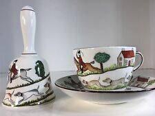 Staffordshire bone china hunting scene Bell And Cup And Plate.Great 3 Pieces Set