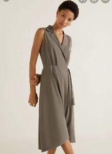 MANGO Collared Wrap Dress, Size 14 Olive green