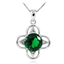 3.5ct 27mm Luxury Russian Emerald Flower Necklace Pendant Solid Sterling Silver