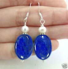 NATURAL BLUE LAPIS LAZULI & REAL WHITE CULTURED PEARL DANGLE EARRING SILVER HOOK
