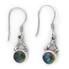 Offerings Sajen 925 Sterling Silver Round Mystic Topaz Dangle Earrings