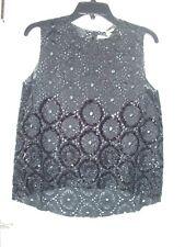 New $128 Chelsea Violet Black Sleeveless Sequin Eyelet Hi-Lo Tunic Top L