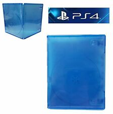(2) TWO PLAYSTATION PS4 Translucent BLUE Replacement Empty Game Cases Box NEW!