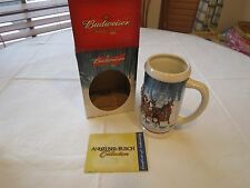 Budweiser RARE Holiday Stein 2007 mug Christmas Winters Calm NOS Beer in Box COA
