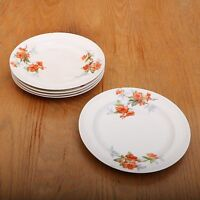 5 Orange Flower Pattern Bread Plates Vintage