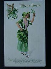 More details for ireland st. patrick's day irish maid erin go bragh c1905 embossed postcard