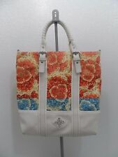 Simply Vera Wang XLarge Vinyl Shoulder Tote Purse Bag White & Floral NICE!!
