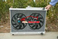 Aluminum Radiator +Fans For Nissan Skyline R33 R34 GTR GTST RB25DET MT 1994-1998