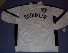 Brooklyn Nets Tricot Track Jacket Medium Tall Full Zip Majestic White NBA