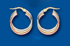 Gold Creole Earrings Hoop Rose Yellow White Hoops Hallmarked 19mm