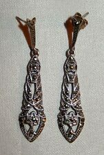 "VINTAGE GERMAN 835 / 1000 SILVER RHINESTONE 1-7/8"" DANGLE / DROP EARRINGS"