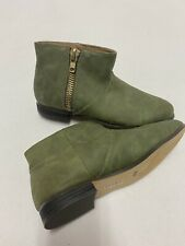 Michael Antonio Green Suede Like Material Ankle Boots W Gold Zipper Size 7