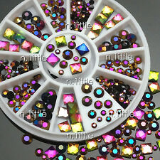 Nail Art Decoration Square Round Multicolor Crystal Glass Rhinestones #NB-133