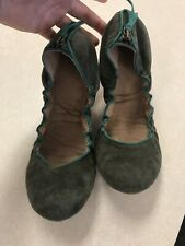 Gap 9 Suede Scrunch Ballet Shoe Green