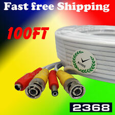 100ft Power & Video Cable for Security CCTV use / Zmodo / Swann / Qsee White