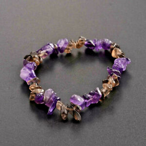 Natural Mens Ladies Amethyst Gemstone Chip Stretch Bracelet Chakra Healing UK
