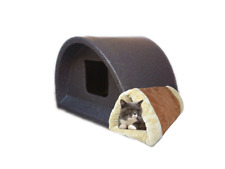 WOW ONLY £61 INC SELF HEAT PAD/ TUNNEL INDOOR CAT SHELTER / KENNEL CAT HOUSE