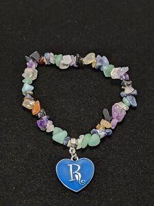Artisan Onyx Amethyst Jade Chip Bracelet Silver Tone R Initial Charm Bracelet