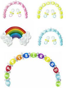 Happy Birthday Balloon Arch Kit Boy Girl Neutral Pink Blue Baby Shower Rainbow