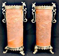 Paire de Vase Rouleau Chinois Terre Cuite de Yixing Ancien Dragon Chine China