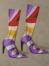 EMILIO PUCCI Multi Color Sock High Heel Boot, Size 37